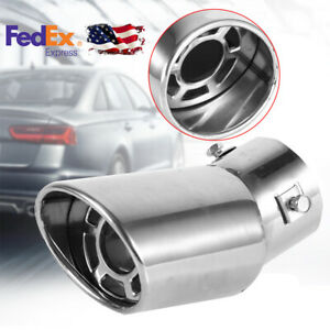 Car Muffler Tip Exhaust Pipe Stainless Steel Chrome Effect Us Stock Universal