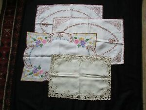 4 X Gorgeous Vintage Linen Embroidered Tray Cloths