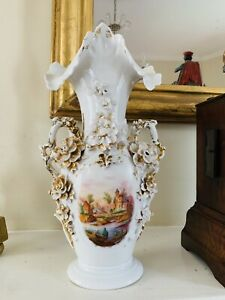 Antique Overspill Vase With Flower Applique And Handpainted Scene Old Paris