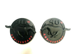 Pair 2 Black Mustang 40th Anniversary Emblems Fender Pony Badge New
