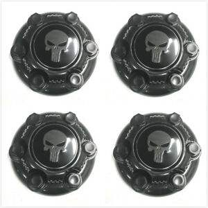 4x Punisher Chevy Black Van 6 Lug Wheel Center Hub Caps Gmc Silverado Tahoe