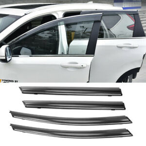 4pcs Window Visor Vent Shade Smoke Tint Chrome Trim For 2017 2019 Honda Crv Cr V