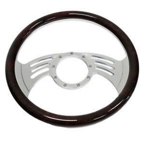 14 350mm Gaap Billet Steering Wheel With Simulated Cherry Wood Wrap 9 Hole Gm