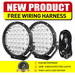 2x 9inch Round Led Work Lights Bull Bar Driving Pods Car Truck Off Road 4wd Spot