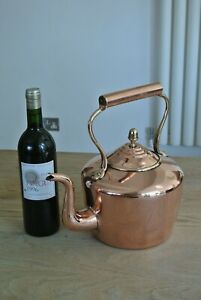 19th Century Large Copper Kettle With Dovetailed Seam Victorian