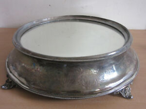 Antique Victorian Large Ornate Footed Mirrored Top Plateau Wedding Cake Stand