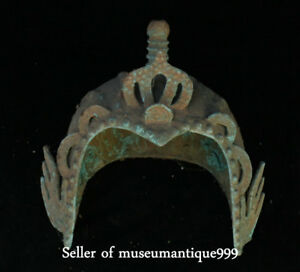 20cm Rare Old Chinese Bronze Ware Dynasty Noble Royal Casque Helmet Hat Cap