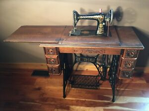 1913 Red Eye Singer Treadle Sewing Machine Cabinet