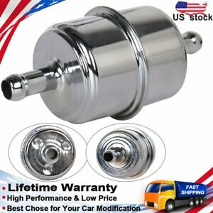 Brand New Fuel Filter In Line 40micron Paper 3 8 Hose Barb Steel Chrome 9746 Us