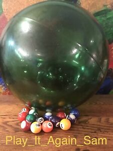 Antique Large 38 Circumference Japanese Glass Fishing Float Green Vgc L K