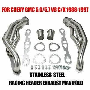 Stainless Racing Header Exhaust Manifold Fits Chevy Gmc 5 0 5 7 V8 C k 88 97