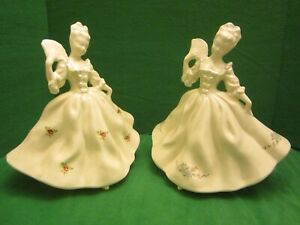 Porcelain Figurine Set French Courtesans White Rc Porcelain