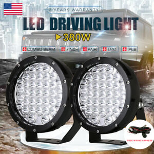Pair 7inch 380w Cree Led Driving Lights Work Combo Bar Pods Round Lamp 12v 24v