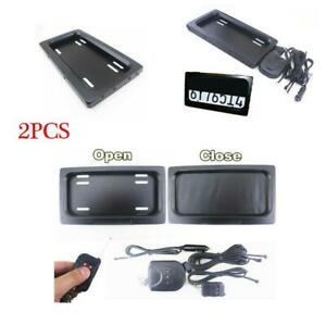2pcs Auto Car Electric License Plate Cover Bracket Remote Occlusion Us Hide away