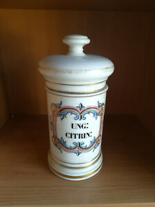 Antique French Pharmacie Drugstore Apothecary Porcelain Jar Pot Ung Citrin