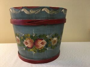 Vintage Wooden Sap Bucket With Tole Painted Blue Floral Design Made In Germany