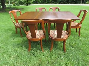 Vintage Hickory Chair Gate Leg Dining Table And 6 Chairs