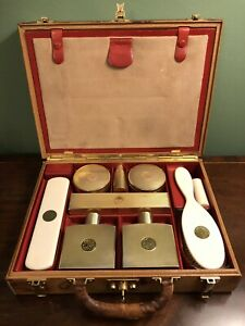 Hallmarked Silver Gilt Travelling Vanity Case Leather C1930 Toilet Dressing Set