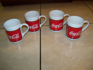 Coke Coca-Cola Mugs Ceramic lot of 4 by Gibson 1996