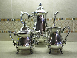 International Silver Co Silver Plated Chippendale 4 Piece Coffee Service Set
