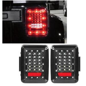For 07 16 Jeep Wrangler Jk Led Tail Lights Rear Brake Turn Reverse Lamp Pair