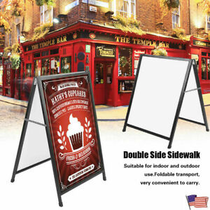 A frame Iron Poster Stand Advertising Board Sidewalk Double Sign 35 X 24 Usa