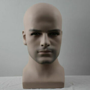 Smooth Design Realistic Fiberglass Male Mannequin Head For Hat And Wig Display