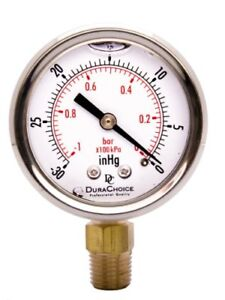 2 Oil Filled Vacuum Pressure Gauge For Air Compressor Water Oil Gas Stainl