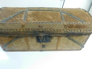 Antique Wooden Dowry Chest Horse Buggy Stagecoach Steamer Dome Top Trunk I B