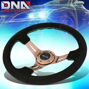 Nrg St 055s rggs 350mm 3 deep Suede Green Stitch Rose Gold Spoke Steering Wheel
