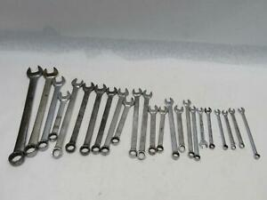 Vintage Snap On 24 Piece Set Hand Wrench Lot Sae Standard 15 16 1 32