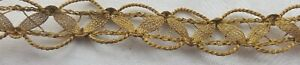 Vintage Gold Metallic Corded Mesh Trim French 9 1 2