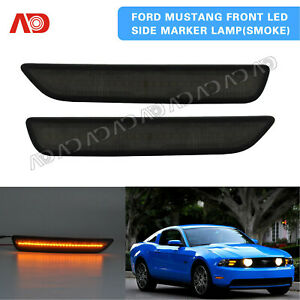 For 2010 2014 Ford Mustang V6 Gt Smoke Front Bumper Led Side Marker Light Lamp