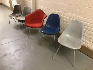 Original Vintage Herman Miller Shell Chair Chairs Lot Eames Arm Stacking