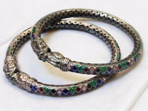 A Pair Chinese Vintage Sterling Silver Enamel Dragon Head Bangle