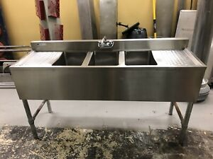 3 Three Compartment Commercial Stainless Steel Sink 60 Inches Long