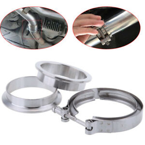 Steel 3 76mm Clamps Flange Kit For Downpipe Intercooler Hose Turbo Exhaust