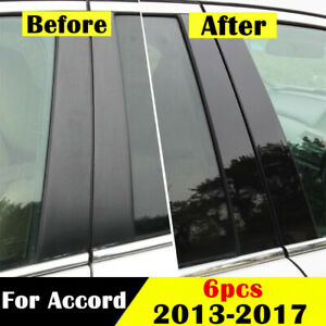 6pcs Mirror Effect Window Center Pillar Cover Trim For Honda Accord 2013 2017 Us