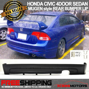 Fit 06 11 Civic 4door Sedan Mugen Type Urethane Rear Bumper Lip Spoiler Kit