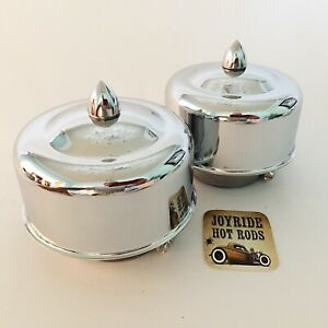 Hot Rod 2 X 2brl Air Cleaners Bullet Fasteners Chrome 2 5 8 Or 2 5 16 Neck