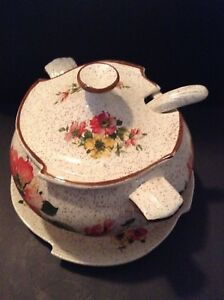 Vintage Usa Calif 3 Pc Soup Tureen White Brown Rim And Speckles Poppy Flowers