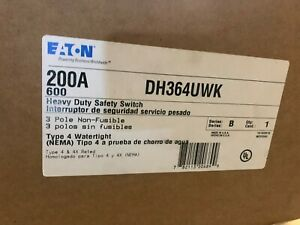 Eaton Dh364uwk 3 Pole 200a 600v Nf Heavy Duty Safety Switch Nema 4x Stainless