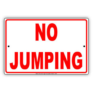 No Jumping From The Deck Caution Novelty Wall Art Decor Aluminum Metal Sign