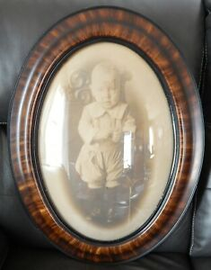 2 Old Convex Glass Tiger Stripe Oval Picture Frames 24 5 X 18 5