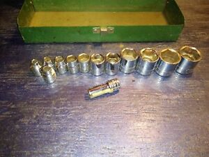 S k Tools 3 8 Drive Socket Nice Lot Of 13 With Metal Box