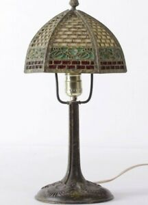 Bradley And Hubbard Bronze Table Lamp Art Nouveau Deco Signed Murano Glass Shade