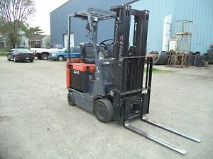 2009 Toyota 7fbcu15 3 000 3000 Cushion Tired 36v Electric Forklift 3 Stg Ss