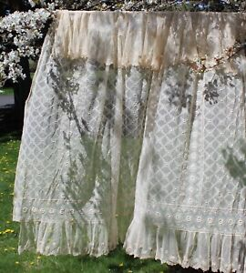 Antique Vintage Net Lace Bed Cover Tablecloth Wedding Backdrop Home Decor 92x76