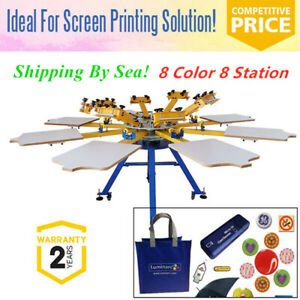 8 Color 8 Station Screen Printing Machine Press T shirt Printer Equipment By Sea