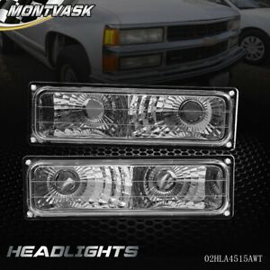 For 94 98 Chevy C K Suburban Silverado Parking Turn Signal Lights Chrome Pair
